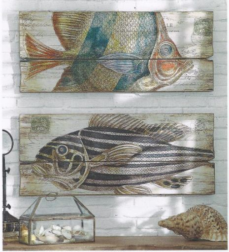 DIY?  Could use pallet wood, white wash it & paint fish, shells, ocean creatures...
