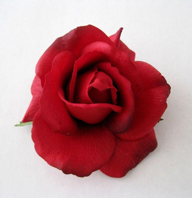 "4"" Romantic Red Rose,Poly Silk Flower Hair Clip,Rockabilly,Bridal,Pin Up,Updo #oceansEdge11 #HatScarfHeadbandBeaniePonytailBangs #WeddingDancePartyMeetingLuauFormalCasual"