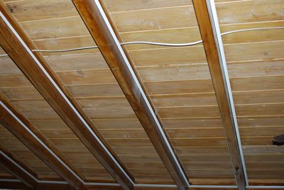 refinishing an exposed beam ceiling - part 1 - Directions Not Included