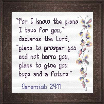 Plans of Hope - Jeremiah 29:11 Quick Stitch Promises - Small Inspirational Cross Stitch Designs