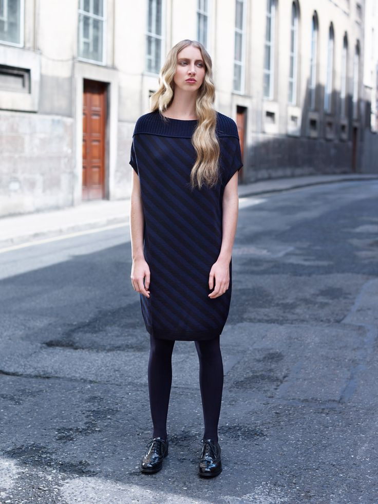 Knitted dress with diagonal stripe pattern by Carolyn Donnelly The Edit