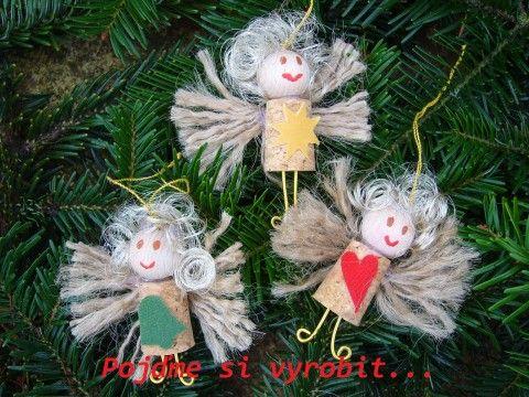 Korkoví andělíčci - kreativní sada dekorace děti vánoce anděl andílek andělíček…
