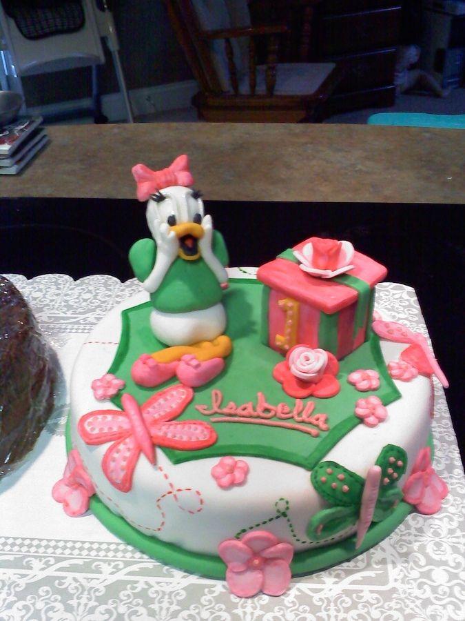 Green/pink daisy duck cake