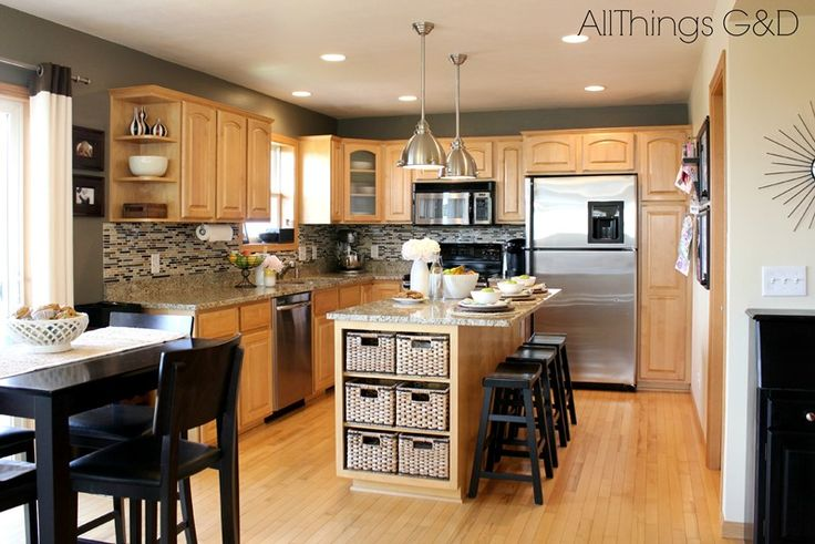 gray kitchen walls with maple cabinets | Going Gray {Gray Kitchen} | www.allthingsgd.com