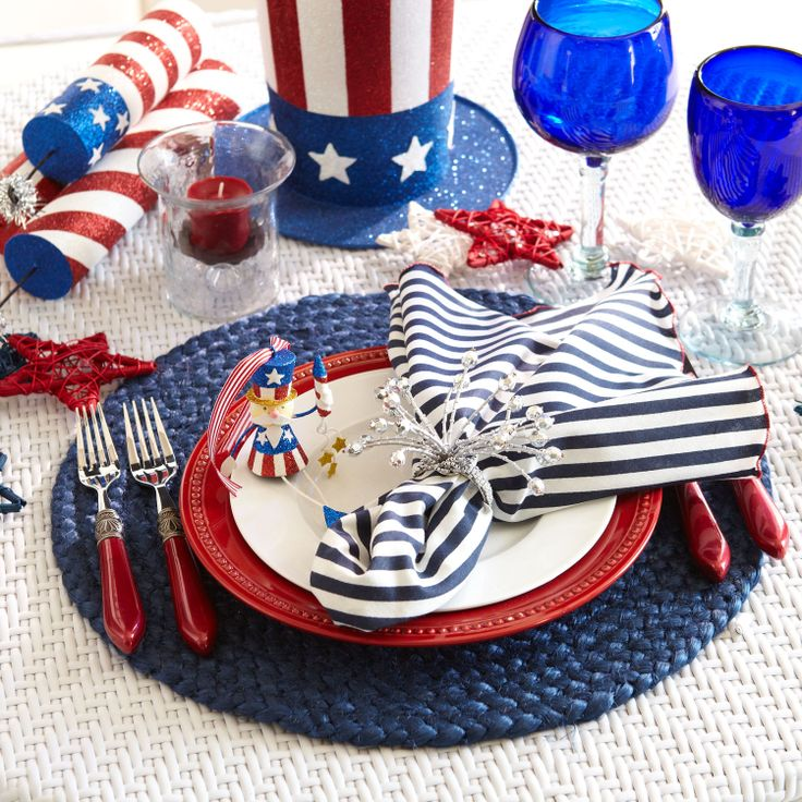 4th of July Place Settings from Pier1.com  sc 1 st  Pinterest & 124 best Fourth of July/Red White u0026 Blue images on Pinterest ...