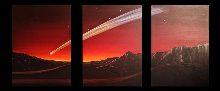 """""""Mars Halley"""" , Trìptico  Acrílico y oleo sobre madera. 1.80 x 90 Cms, 2016."""