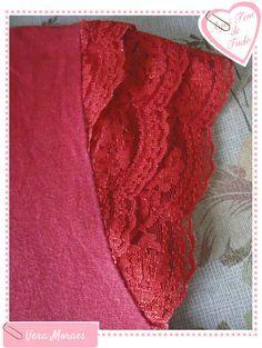 Add a lace sleeve to a sleeveless shirt.