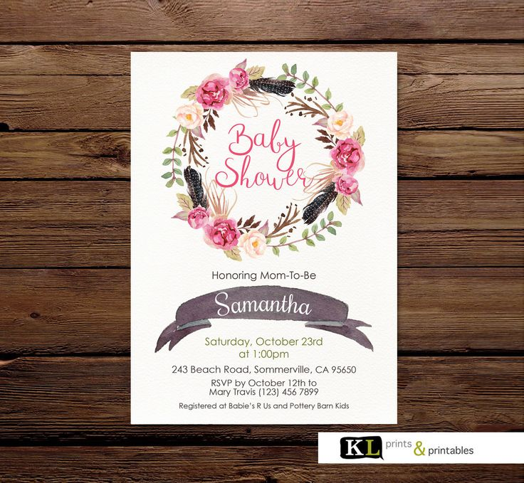 Baby Shower Invitation - Floral feather Invitation - Personalised Invite - Custom Printable Digital Invitation  - Pink Roses Invitation by KLprintsandprintable on Etsy
