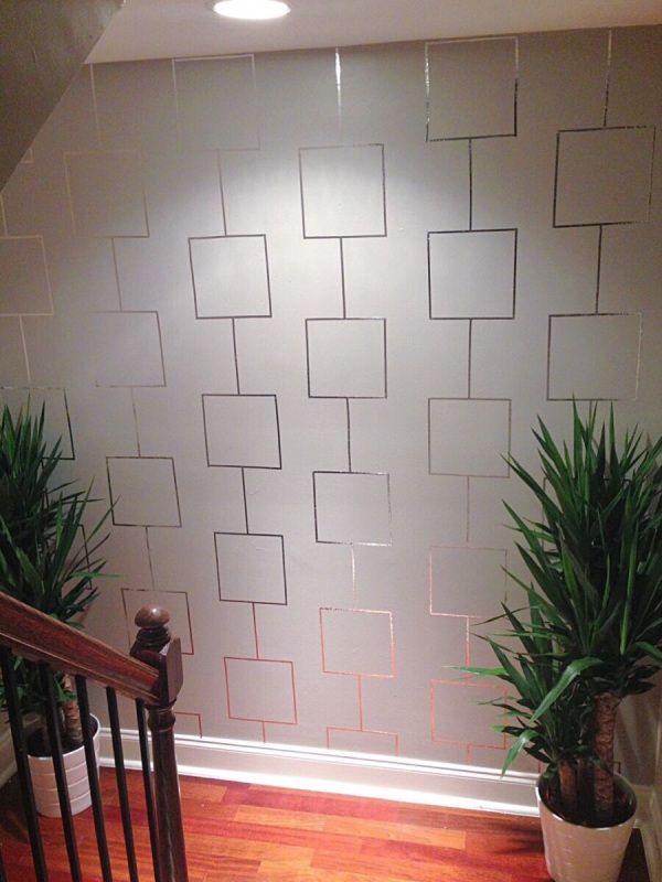 Love wallpaper but don't like the permanency and cost? Try creating a feature wall using aluminum tape! Check out the details and more pics on the blog!