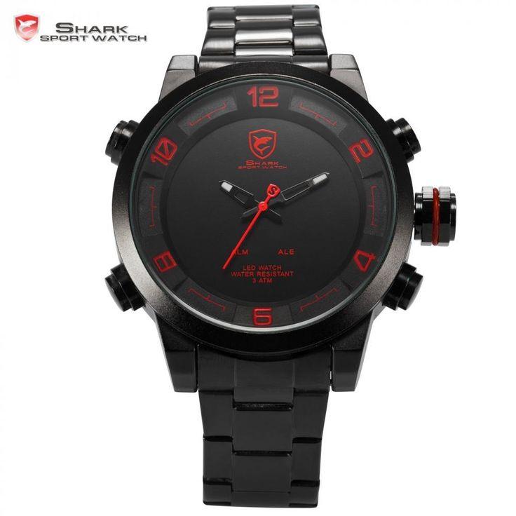 Gulper Shark Sport Watch Red Black Digital Steel Band Dual Movement Reloj De Pulsera Led Date Alarm