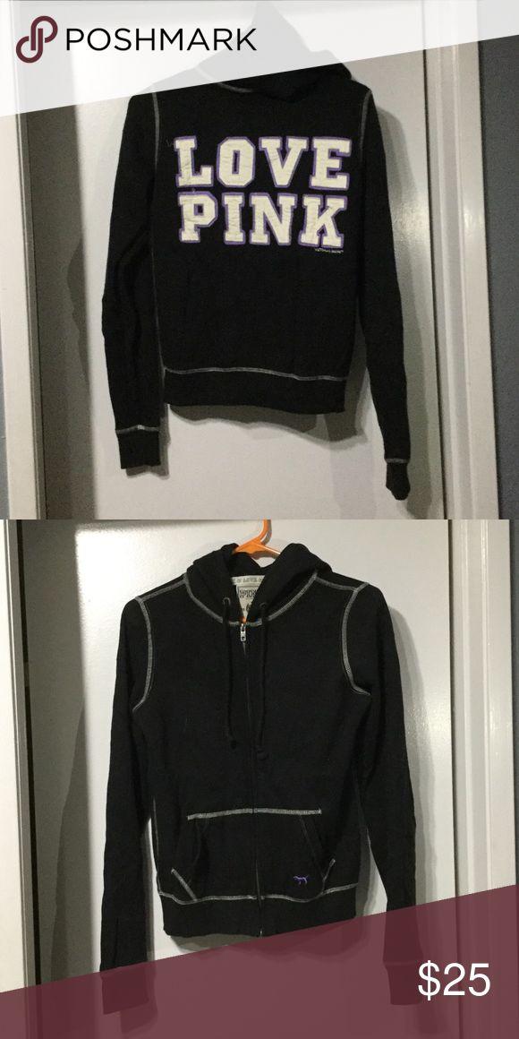 PINK zip up Barely worn Victoria Secret's PINK zip up black hoodie PINK Victoria's Secret Tops Sweatshirts & Hoodies