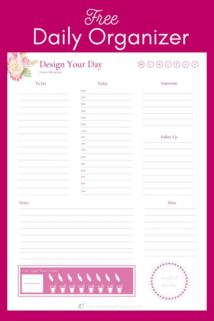 Free daily organizer printable planner pretty printables for Online planner