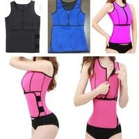 Wish | Zip Front Belt Latex Waist Trainer Vest  Slimming Hot Body Shaper