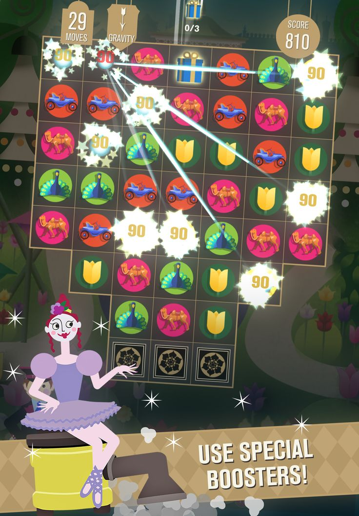 Use special boosters while playing, switch, match and earn voucher points for real products and experiences! #casual #games #iOS #Puzzle #Tivoli