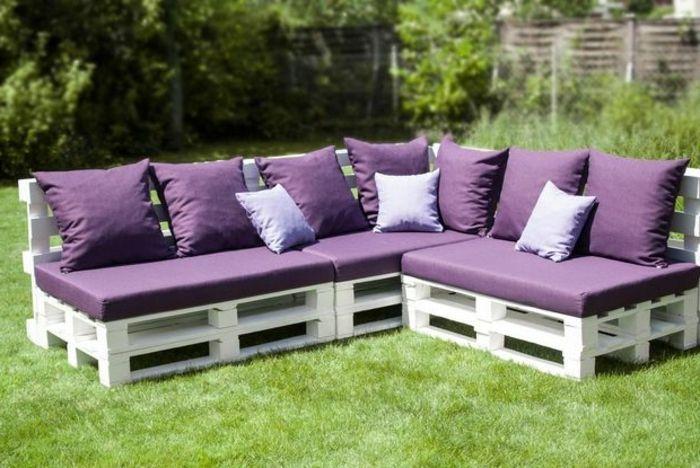 VIDAXL Canapé de jardin palette avec coussins gris Pinède ...