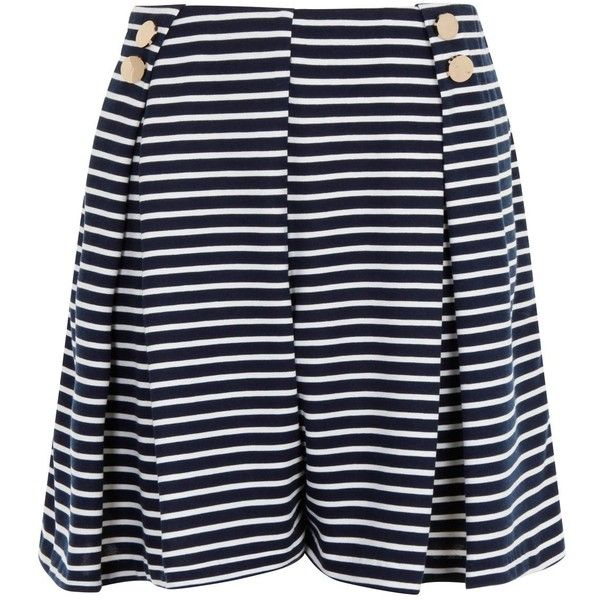 Elvi Plus Size Nautical Wide Leg Shorts ($41) ❤ liked on Polyvore featuring shorts, clearance, striped shorts, stripe shorts, elvi, nautical shorts and plus size shorts