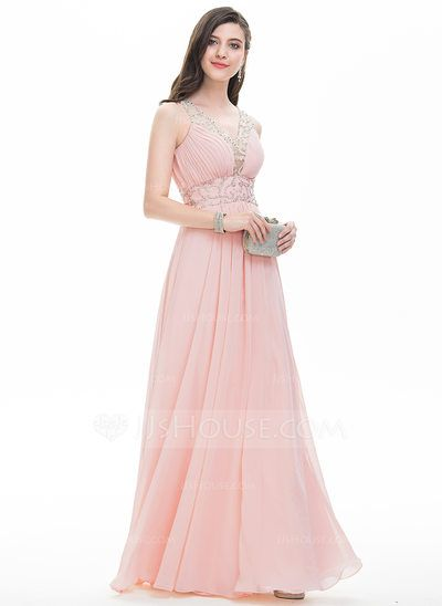 [US$ 176.69] A-Line/Princess V-neck Floor-Length Chiffon Prom Dress With Ruffle Beading Sequins (018112785)