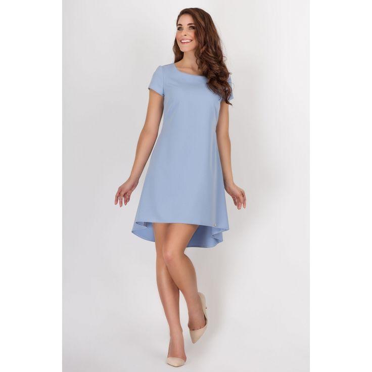 Niebieska Letnia Kloszowana Sukienka z Dłuższym Tyłem w Kontrafałdy