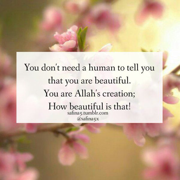 You are Allah's creation, therefore you are beautiful.   #Islam #Beauty #Creation