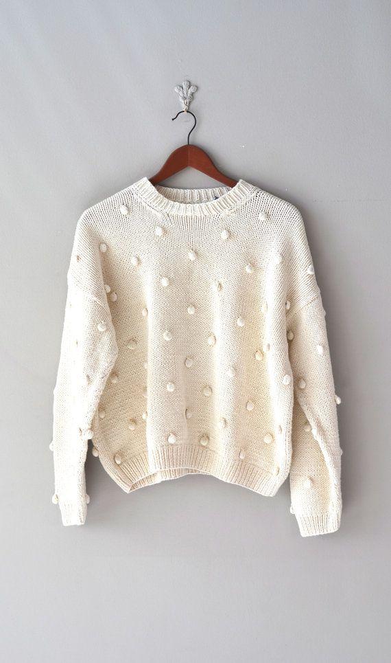 cream slouchy sweater / 1980s oversized sweater /