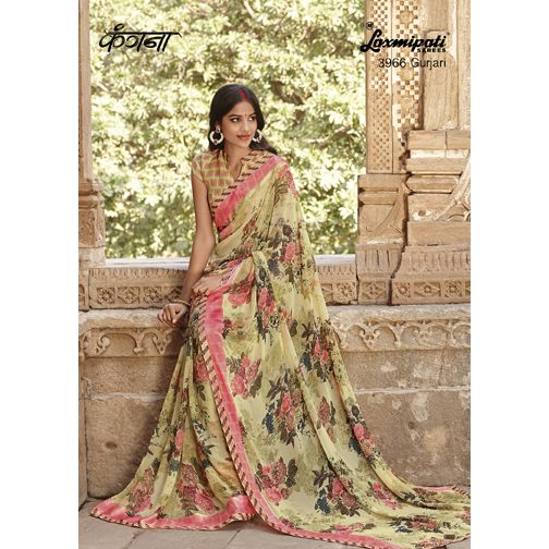 Make your look more stunning by draping this marvellous Multicoloured ‪#‎Georgette‬ Satin Patta ‪#‎Saree‬ featuring Satin with Lazer Cutting Lace. It will carrying Olive Green coloured Rawsilk Printed Blouse. ‪#‎Laxmipatisarees‬ Shop now@ http://bit.ly/1r3yEdz E-mail :info@laxmipati.com