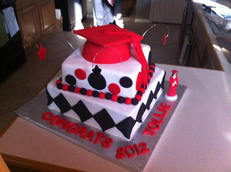 Cake Decoration Ideas For Graduation : Red, White and Black Graduation cake Amanda s Graduation ...