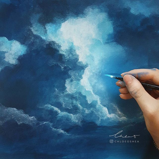 Work in progress of another stormy acrylic painting. #WIP