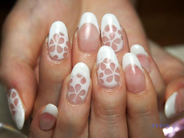 47 best cutout nail designs images on pinterest make up blue white cutout french nail design prinsesfo Gallery