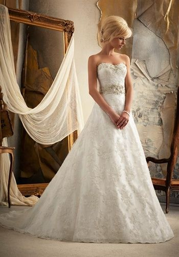 More dresses in this collection                                                                          More of this type: A-Line, Strapless, Floor, Attached, Chapel, Beading, Embroidery, Whites/Ivory, $$        Mori Lee by Madeline Gardner