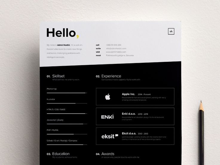 Absolutely love this black and white resume design with high contrast and simple formatting by Admir Hadžić. For more resume inspirations click here: www.pinterest.com/sheppardaaron/-design-resumes/ Creative Resume Design, Resume Style, Resume Design, Curriculum Vitae, CV, Resume Template, Resumes, Resume Format.
