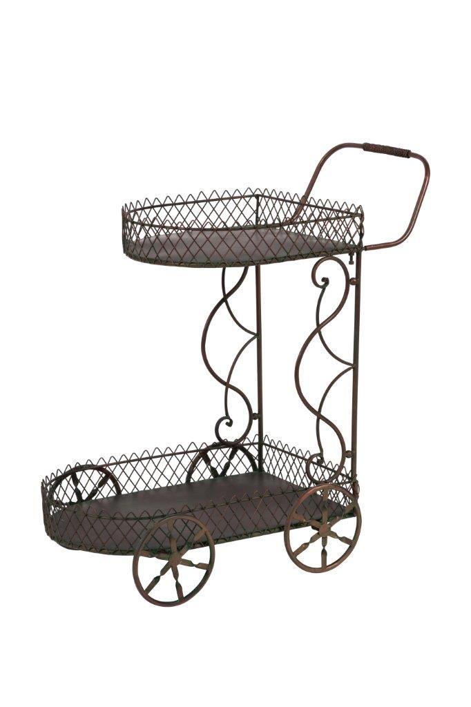 Лёгкий, изящный, металлический сервировочный столик с двумя поддонами  поможет легко и виртуозно подать к столу достаточное количество продуктов. Его можно использовать как дома, так и в ресторане или кафе.             Материал: Металл.              Бренд: DG Home.              Стили: Прованс и кантри.              Цвета: Темно-коричневый.