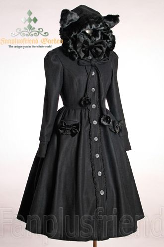 Coat with cat ears: Thick Wool, Clothing Ideas, Sweet Gothic, Catti Hoods, Gothic Lolita, Lolita Thick, Hoods Coats, Cat Ears, Wool Catti