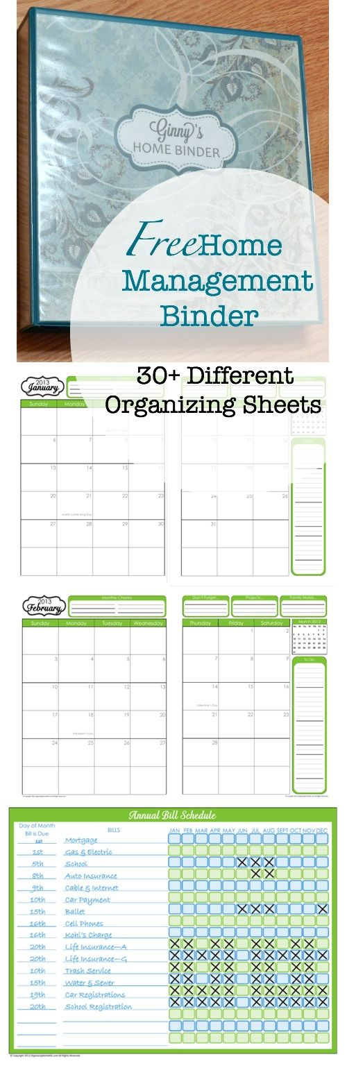 Love this! Great for every binder! Even some customizable templates to get a cover photo like hers, and a tutorial! To Do List, Daily  Weekly Chore Schedule, Monthly Zone Chores, Monthly Bill Pay Schedule, Monthly Budget, Contact List Friends/Family/Medical Health/Insurance/Utilities  Services/School, Website Usernames  Passwords, Books and Movies, Auto Maintenance Log, Household Projects, Meal Planning, Inventories, and more.