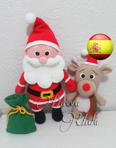 Patrón reno y Papa Noel