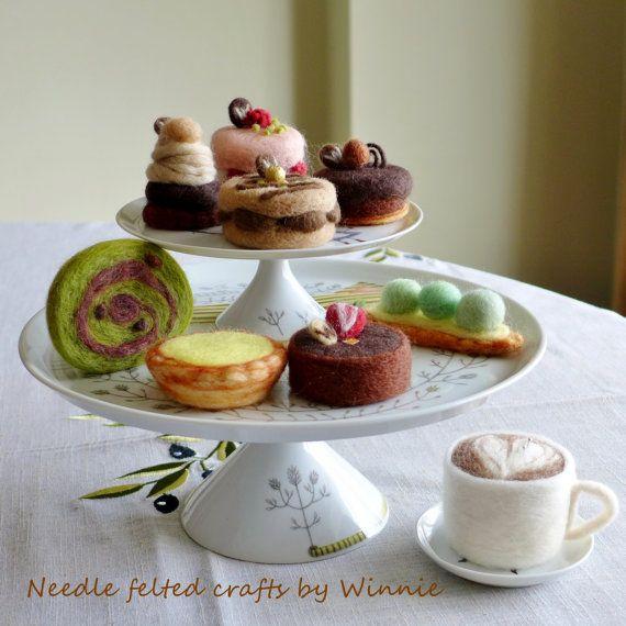 Nadel Gefilzte Dessert-Torte & Kuchen die von FunFeltByWinnie
