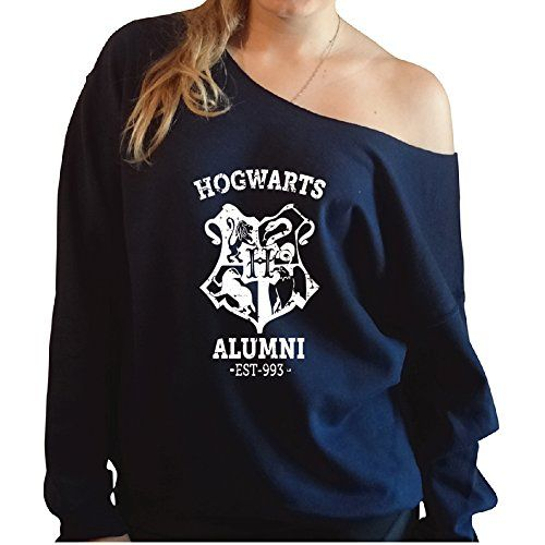Harry Potter Hogwarts Alumni (off the shoulder) Slouchy Sweatshirt - Comes in 8 colors.