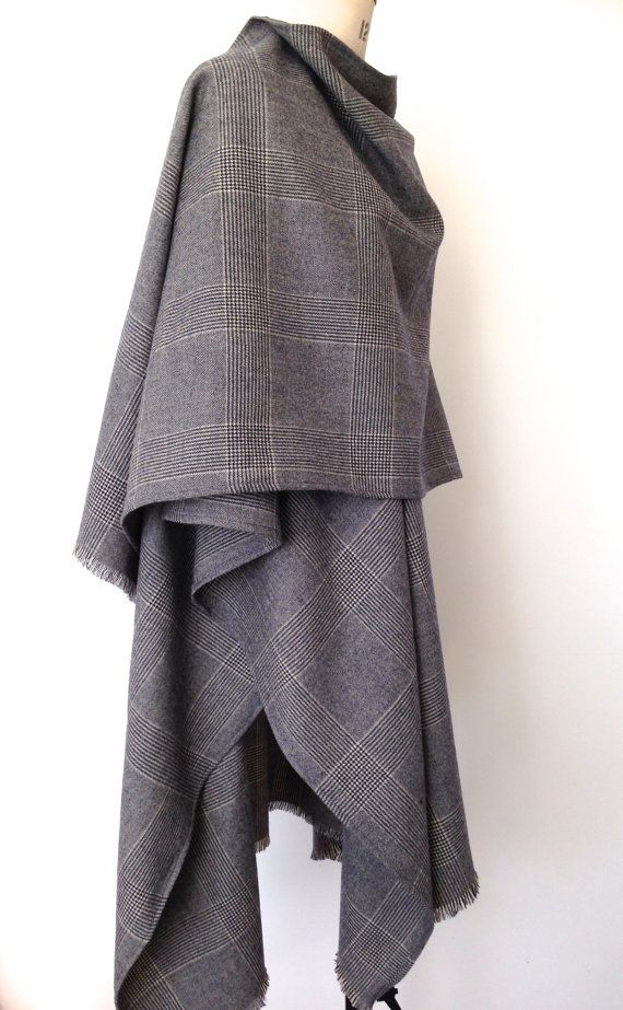 Cape Menswear - Prince of Wales Check Cape - Large Oversized Poncho - Winter Wool Blanket Poncho for Men - Mens Poncho Cape -  Made in UK