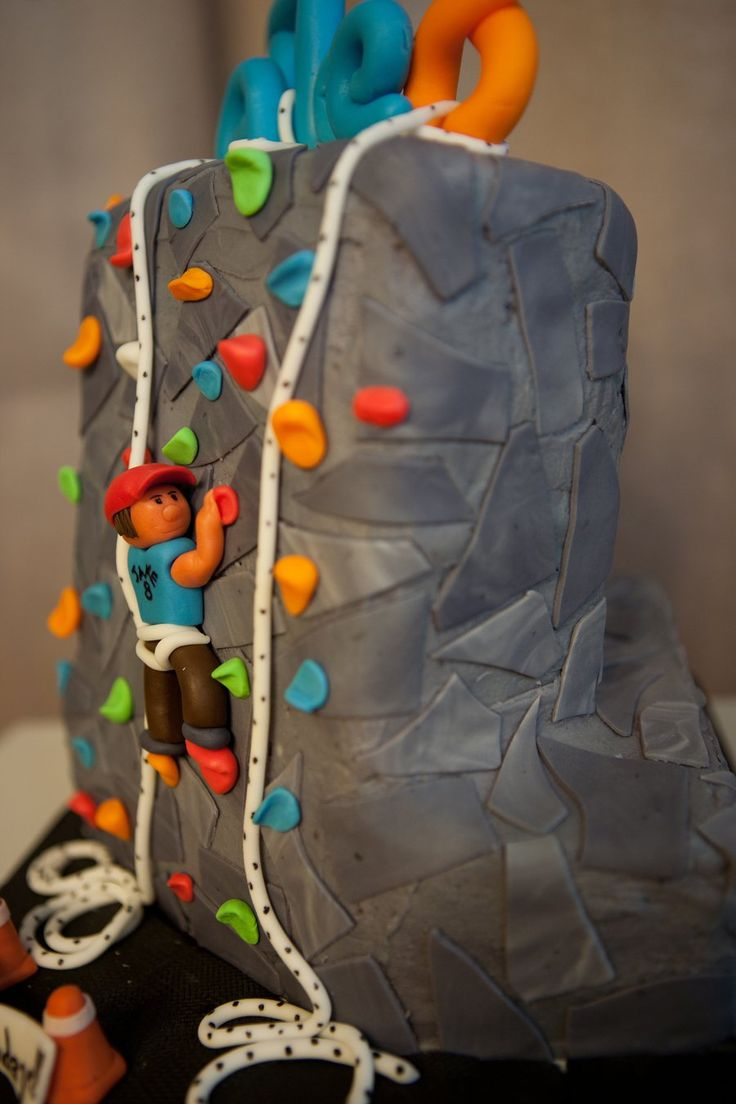 Rock Climbing Chocolate cake with Vanilla Pudding filling in the shape of a rock climbing wall. Made it for a boy's 8th birthday who...