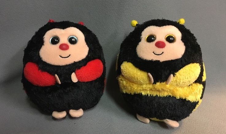TY Beanie Ballz Dots the Lady Bug  And Zips the Bumble Bee #Ty