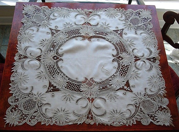 "Antique Victorian Branscombe lace and linen tea cloth -- monogram ""T"""