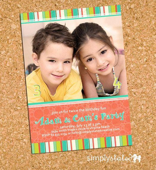 preppy carribean - custom kids photo invitation invite ...