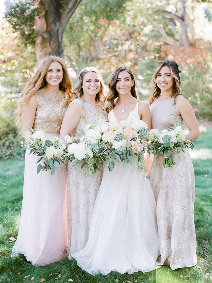 Pink Patterned Bridesmaid Dresses