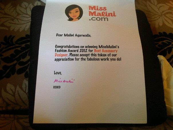 Yay for winning Best Accessory Designer 2012 on MissMalini.com! Thanks for all those who made it happen :)