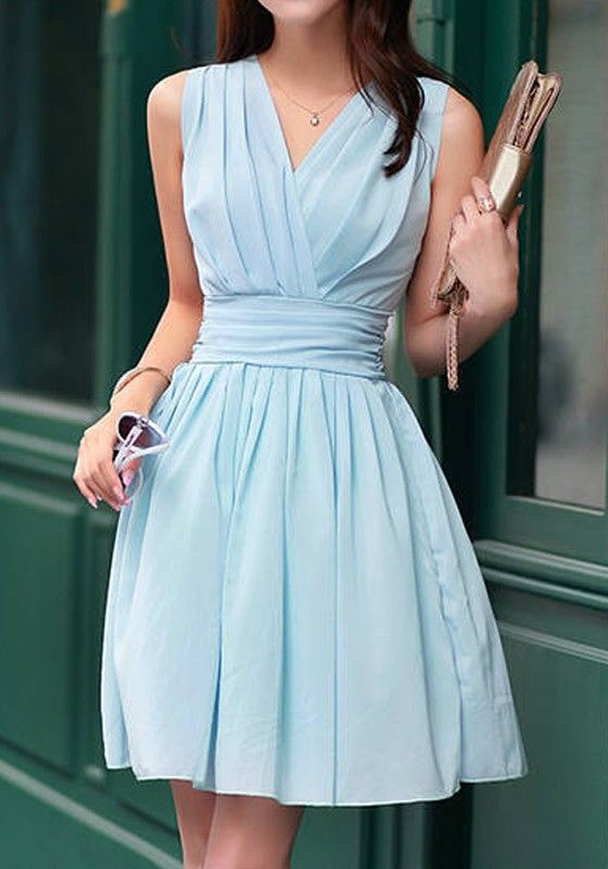 Light Blue Plain Pleated Cross-Over Neckline Chiffon Dress