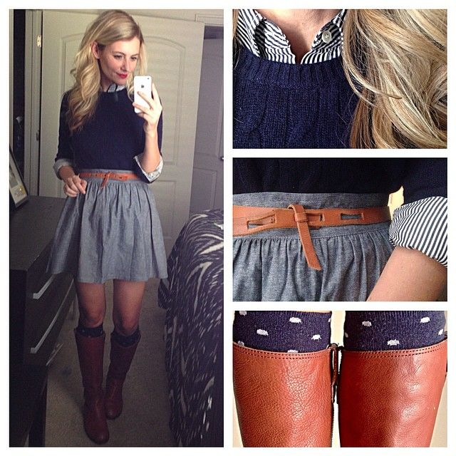 full chambray skirt + navy striped button down + navy cabled sweater