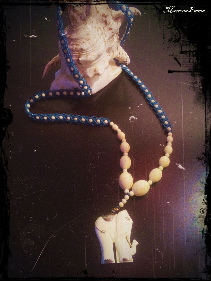 ..looong long Macrame Necklace with Fildisi Pendant & Beads..by MacramEmma..