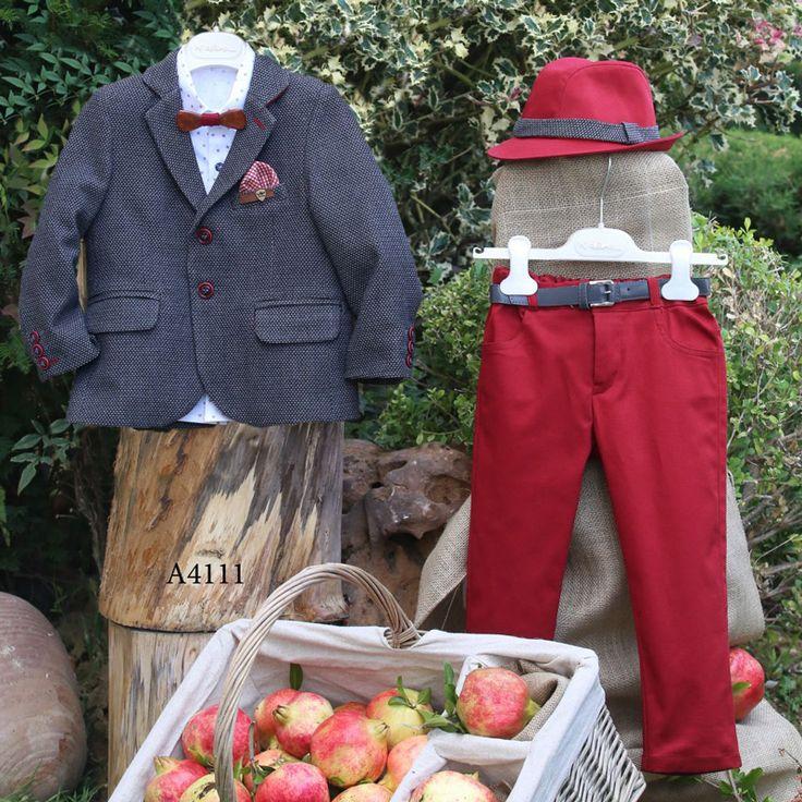 Βαπτιστικό Χειμερινό Κοστούμι Κόκκινο Παντελόνι Γκρι Σακάκι Mi Chiamo Α4111