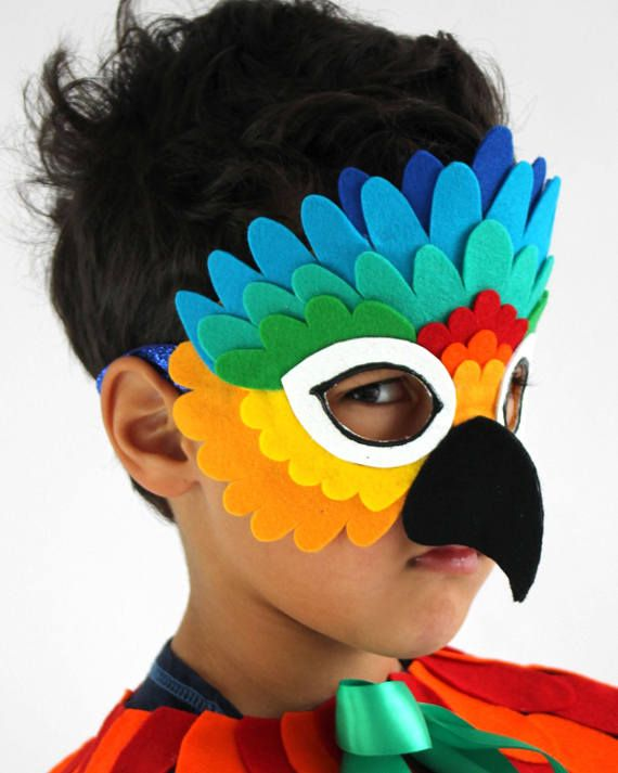 Rainbow Parrot Mask Children's Costume