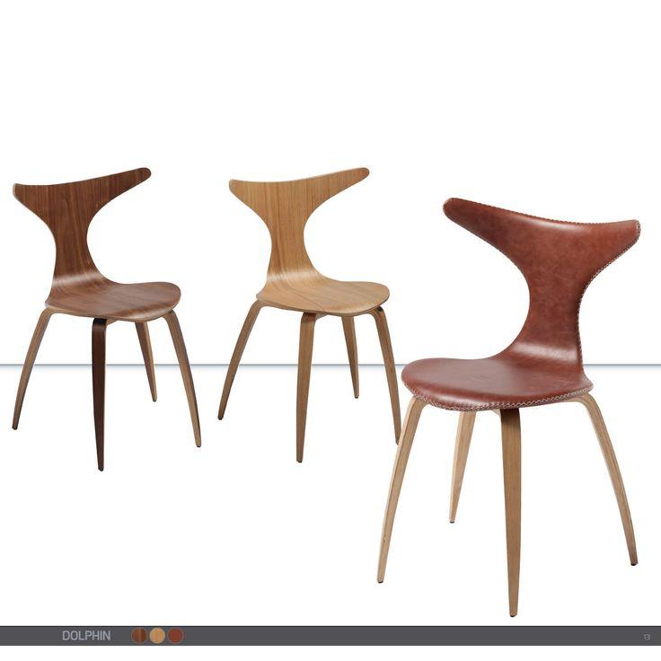 DOLPHIN Chair - Leather, walnut veneer, oak veneer.