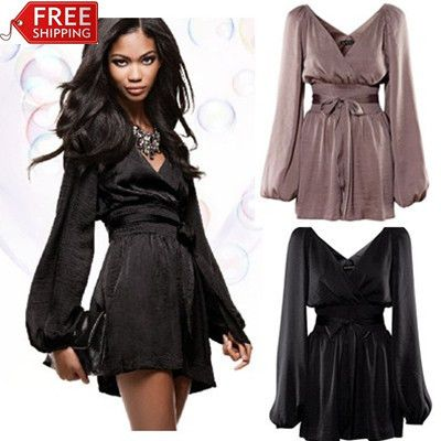 New Arrival Spring Fashion Lady Jumpsuits &Rompers Casual Loose Plus Size Satin Long Sleeve With Belt Sexy Deep V Design #277  US $28.65
